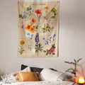 Botanical Wildflower Tapestry Wall Hanging Flower Saguaro Hippie Tapestry Boho Tapestries Wall Carpet Psychedelic INS Home Decor