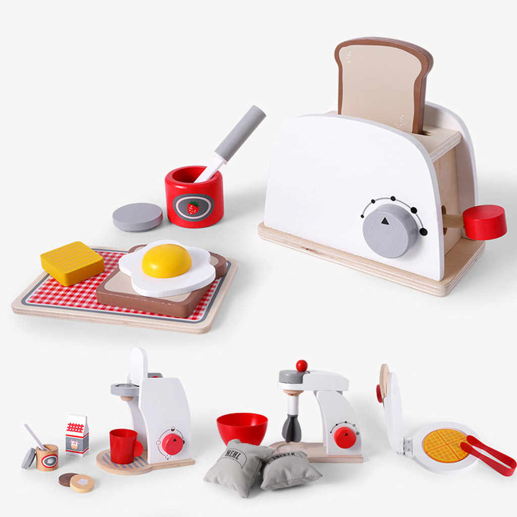 Children's Pretend Role Play House Kitchen Toy Set Wooden Simulation Bread Machine Baby Classic Kids Educational Toys M50#