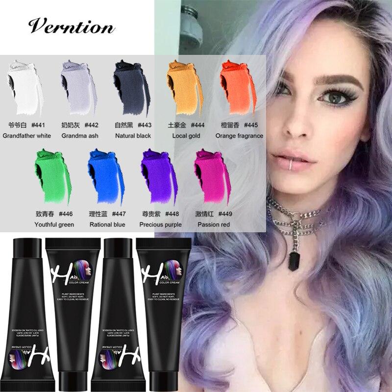 Verntion Hair Color Wax Grandma Grey Hair Dye Temporary Hair Color Wax Hair Colour Permanent Cream Gel Styling Unisex Hair Dye