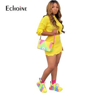 Image 2 - אופנה סתיו חורף סוודר שתי חתיכה להגדיר נשים ארוך שרוול סרוג יבול למעלה מיני חצאית מקרית חליפות Streetwear סטים תואמים