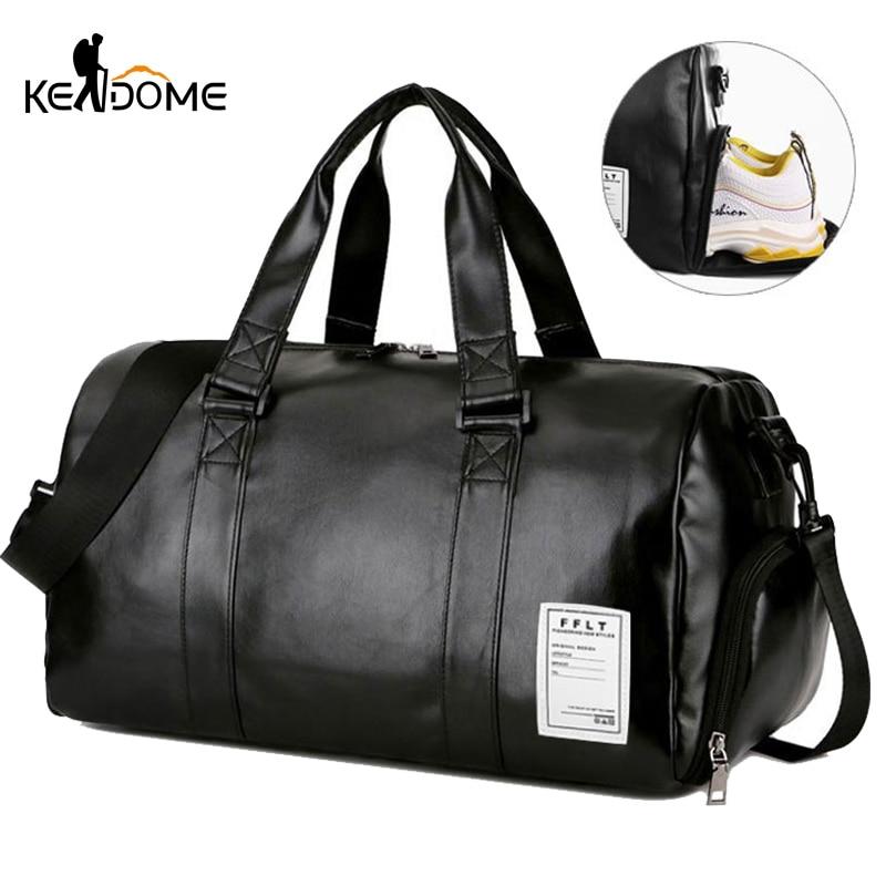 Sac De Sport en cuir sacs De Sport grands hommes formation Tas pour chaussures dame Fitness Yoga voyage bagages épaule noir Sac De Sport XA512WD