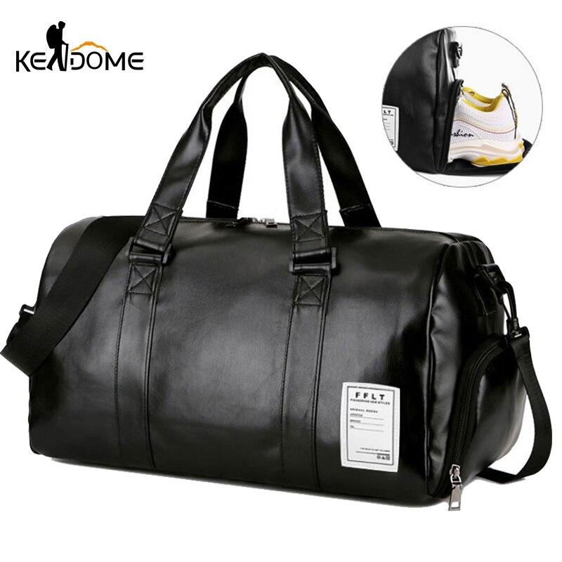Ginásio saco de couro sacos de desporto grande homem treinamento tas para sapatos senhora fitness yoga viagem bagagem ombro preto saco do esporte xa512wd