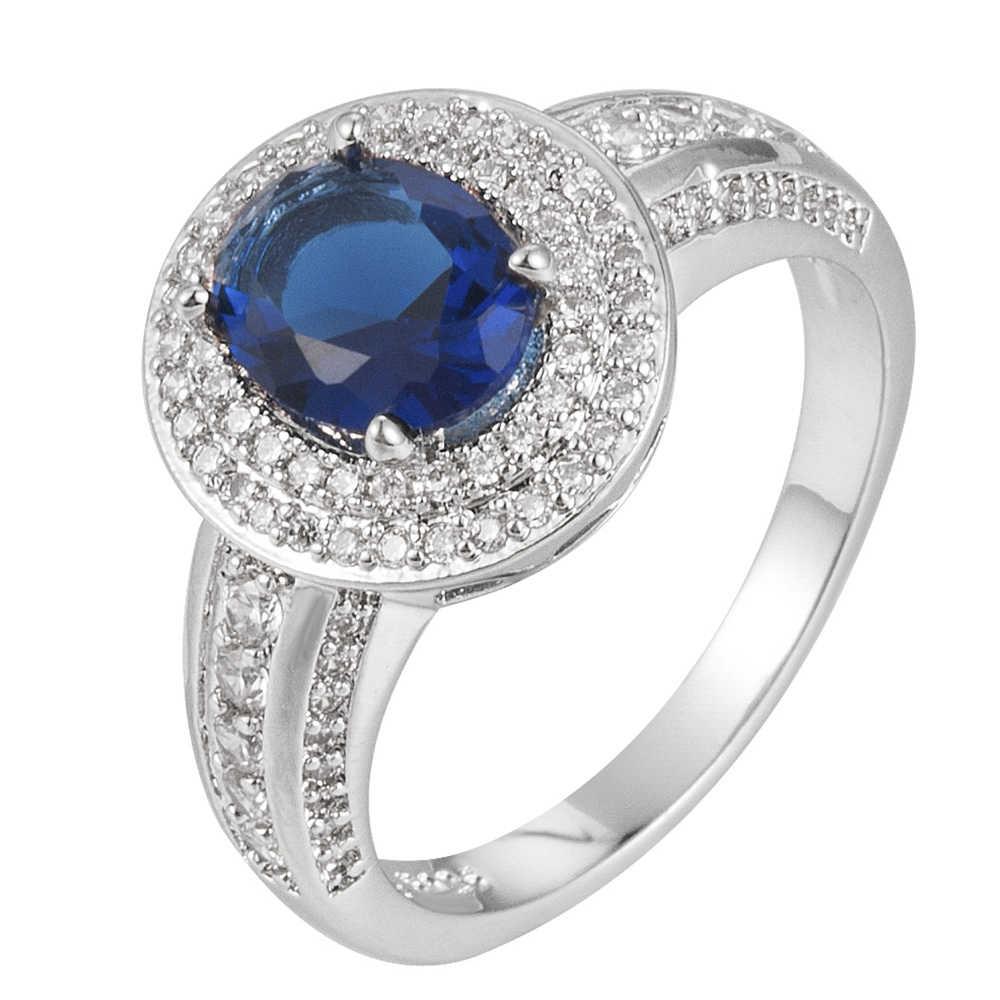 2019 nueva moda elegante mujeres corte ovalado azul Zircon joyería de plata anillo de boda tamaño 6-10 anillo de compromiso