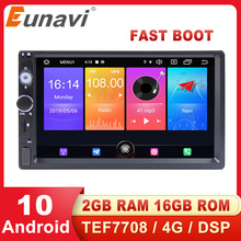 Eunavi Car Multimedia Player Universal Auto Radio Stereo Audio GPS Android 10 TEF7708 4G WIFI DSP USB Subwoofer 7'' NO DVD 2 Din