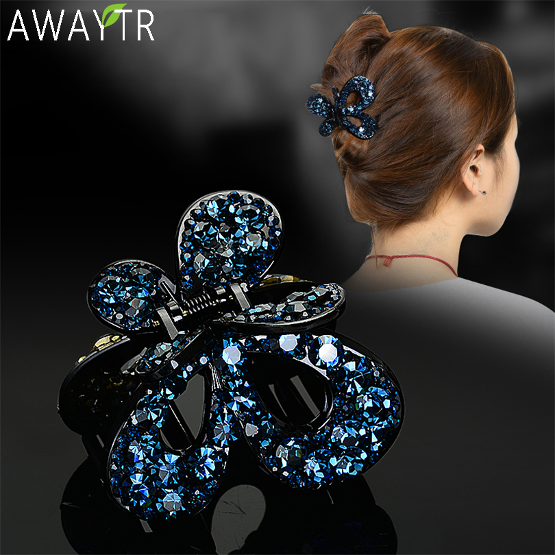 AWAYTR Women Crystal Hair Claw Vintage Butterfly Hairpin Heandband Crab Clip Shiny Rhinestone Bow Hair Clips Hair Accessories