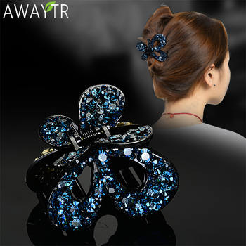 AWAYTR Women Crystal Hair Claw Vintage Butterfly Hairpin Heandband Crab Clip Shiny Rhinestone Bow Hair Clips Hair Accessories metal rhinestones hair clip vintage bronze plating butterfly hair claw retro flower hairgrip women hair jewelry