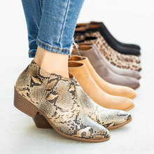 Women Ankle Boots Side Zipper Snakeskin Pattern Pointed Toe Chelsea Boots Low Chunky Heels Ladies Booties Autumn Botas Mujer D25 цена в Москве и Питере