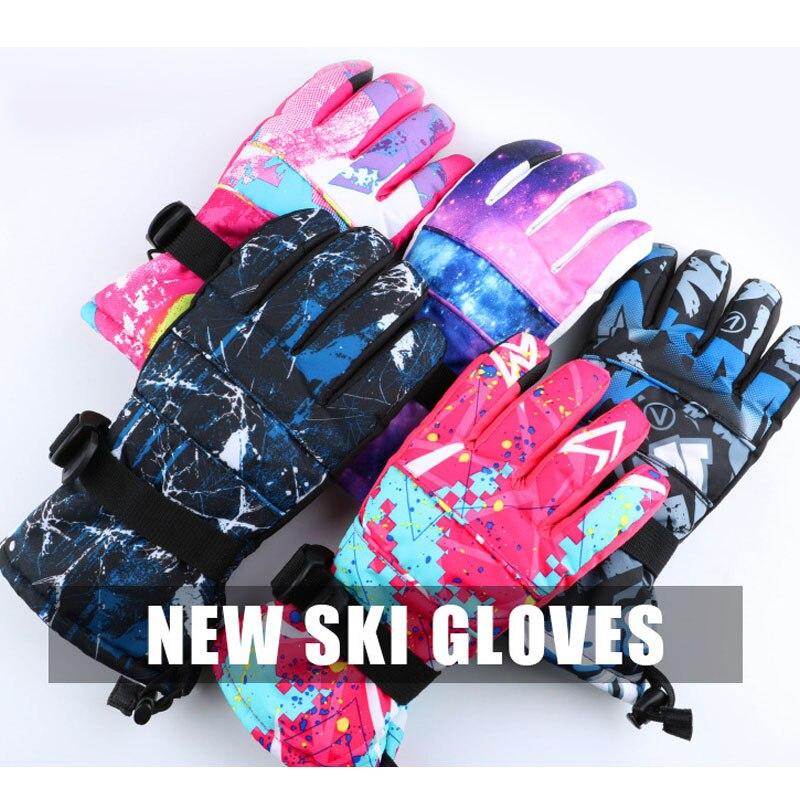 Women Kids Waterproof Ski Gloves Ultralight Waterproof Winter Warm Gloves with Fleece Anti-slip Snowboard Gloves for Skating