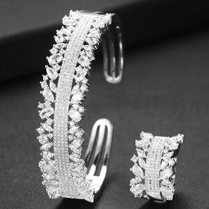 Image 3 - GODKI  2PCS Bangle/Ring Set Luxury Korean Saudi Arabia Jewelry Sets For Women Wedding Engagement brincos para as mulheres 2019
