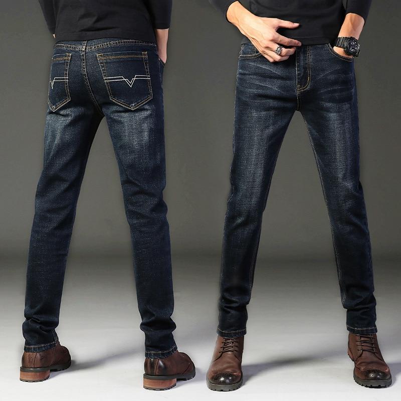 Men's Jeans Directly Barrel Pants Tide Man Elastic Force Leisure Trousers Slim Fit Denim Pants Male Elastic Trousers