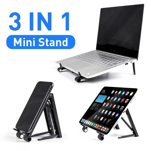 Laptop Mini Giá Đỡ Có Thể Điều Chỉnh Di Động Điện Thoại Đứng Hỗ Trợ 3in1 Xách Tay Chân Đỡ Cho Macbook iPhone Ipad