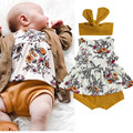 Three Piece Baby Girl's Clothes Summer 2021 Fashion Flower Print Sleeveless Tops and Solid Color Short Pants with Headband