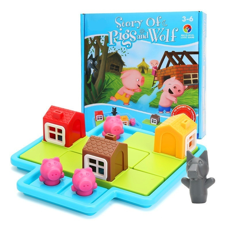 Smart Hide&Seek Board Games Three Little Piggies 48 Challenge With Solution Games IQ Training Toys For Children Oyuncak Gifts