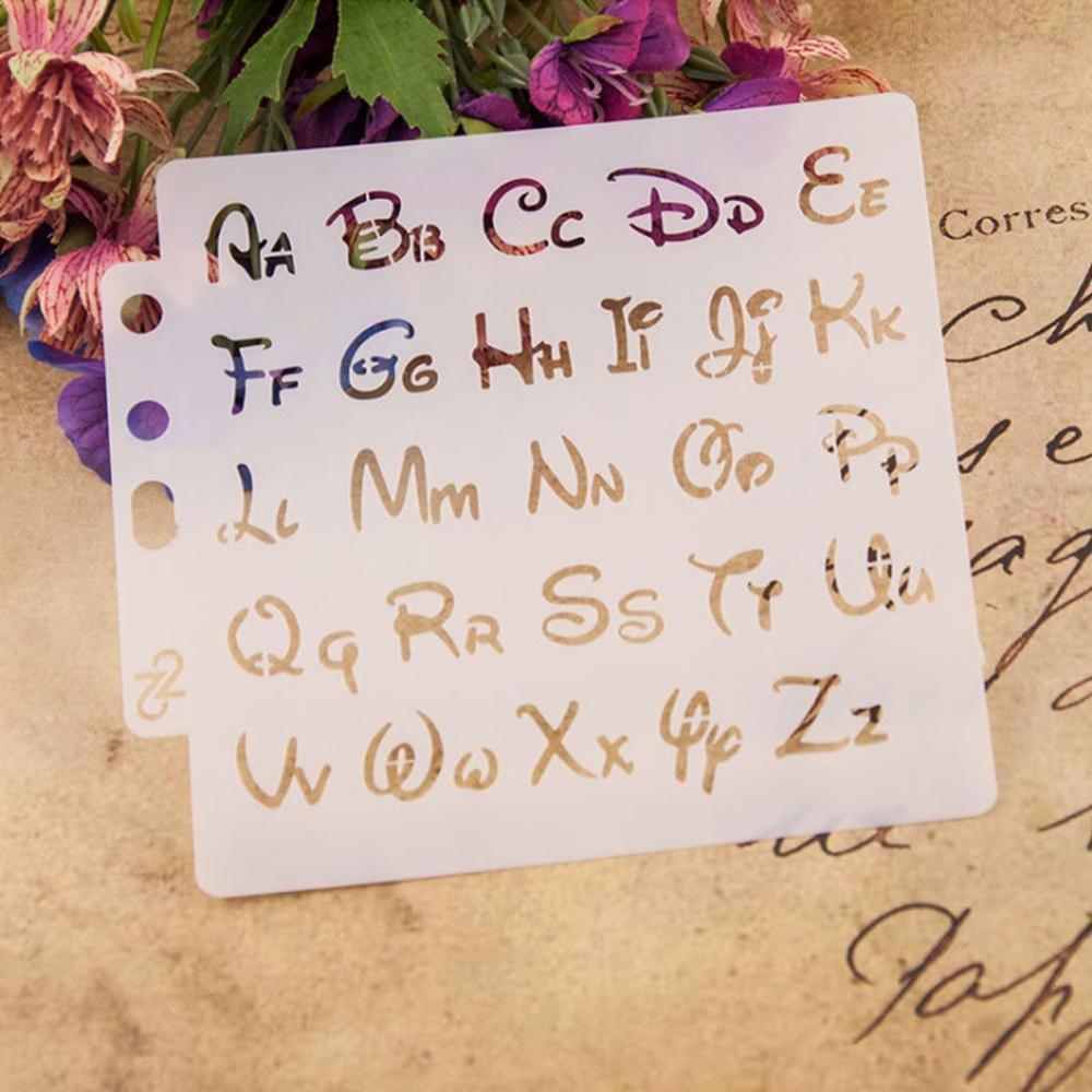 VIVIDCRAFT 2pcs Alphabet Letter Stencils Template Painting Scrapbooking Embossing Stamping Album Card DIY