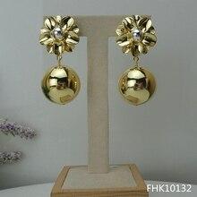 Yuminglai 24K dubaj złote kolczyki włoskie kolczyki dla kobiet FHK10132