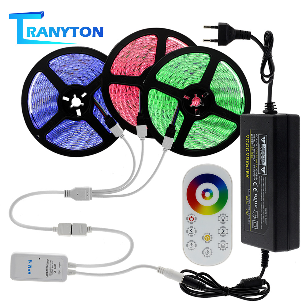 5050 RGB LED Strip 60LEDs/M Color Changing Tape DC12V Flexible Strip Light+ Touch Remote Control+Power Adapter