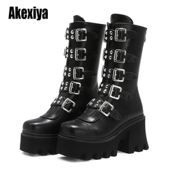 LOOZYKIT Winter Gothic Punk Womens Platform Boots Black Buckle Strap zipper Creeper Wedges Shoes Mid Calf Military Combat Boots