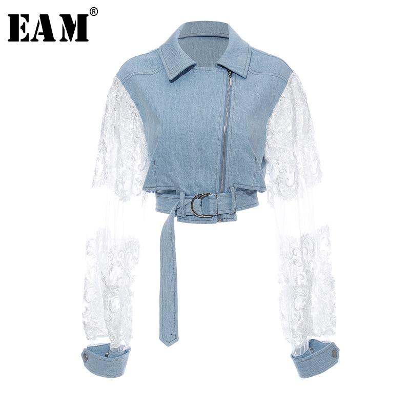 [EAM] Loose Fit Lace Split Joint Blue Denim Jacket New Lapel Long Sleeve Women Coat Fashion Tide Spring Autumn 2020 1D638