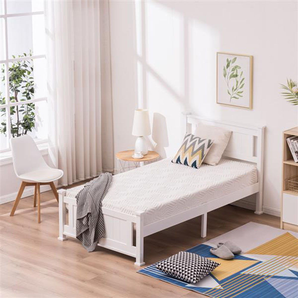 bedroom furniture modern style cap vertical wood bed white twin