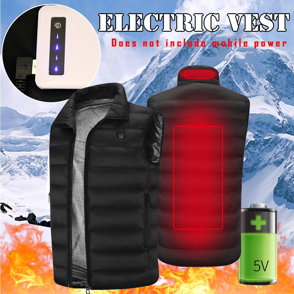 2020 Men Outdoor USB Infrared Heating Vest Jacket Men Women Winter Electric Thermal Clothing Waistcoat For Sports Hiking 6