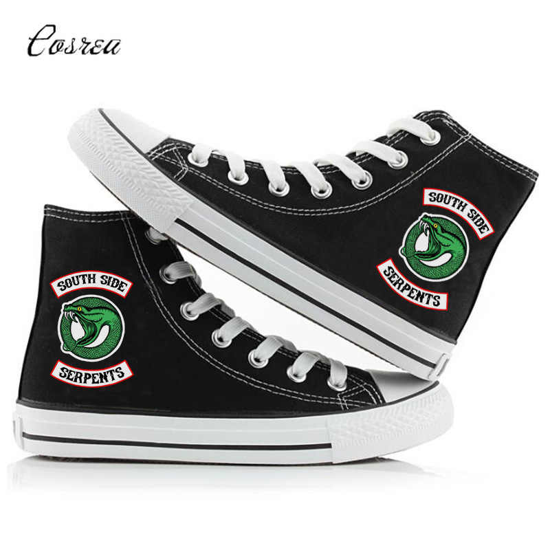 Riverdale Afdrukken Cartoon Hoge Canvas Schoenen Ademend Canvas Bovendeel Sneakers Personaliseren Mode South Side Slangen Riverdale