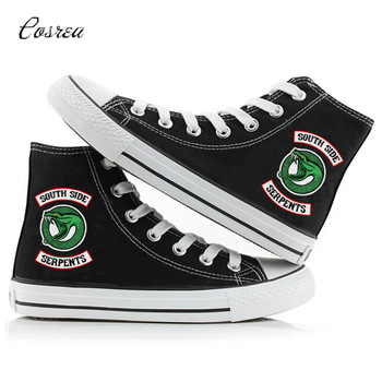 Riverdale Printing Cartoon High Canvas Shoes Breathable Uppers Sneakers Personalise Fashion South Side Serpents