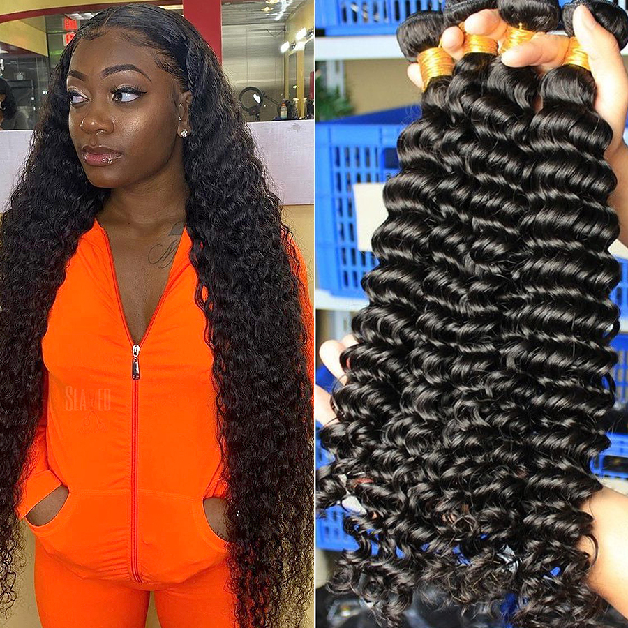 Queenlife 30 32 34 36 Inch Deep Wave Bundles Brazilian Hair Bundles Human Hair Extensions 1/3/4 Bundles Remy Hair Weave Bundles
