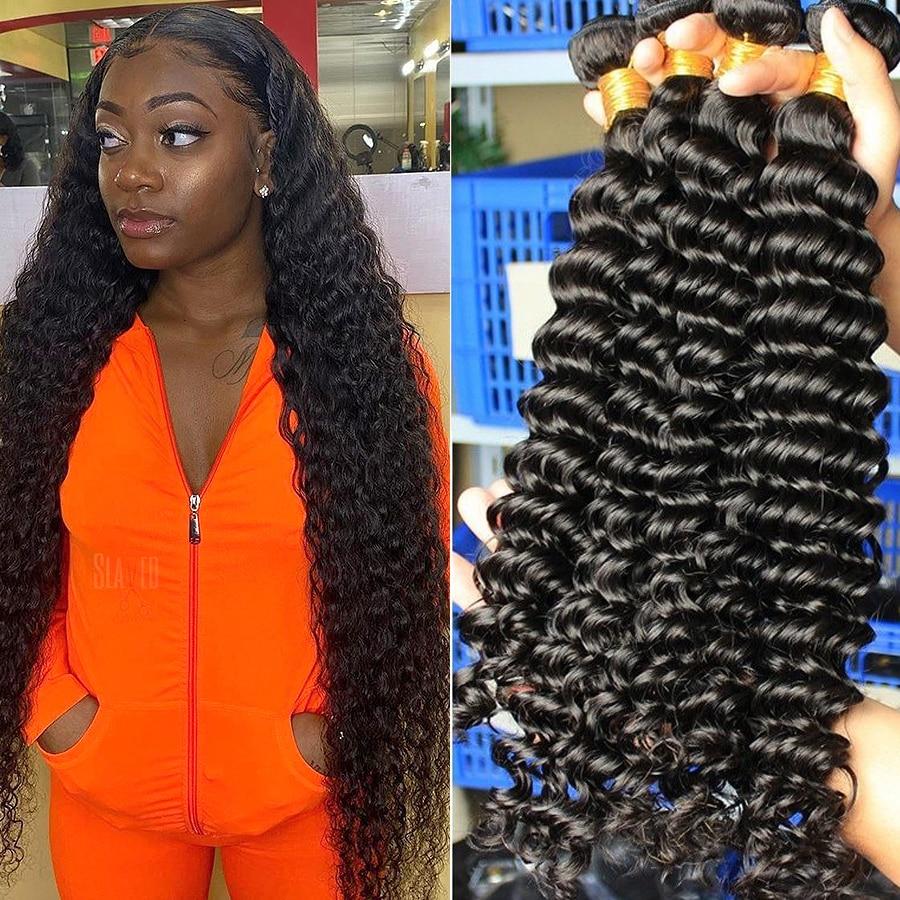 Queenlife 30 32 34 36 Inch Deep Wave Bundles Brazilian Hair Bundles Human Hair Extensions 1/3/4 Bundles Remy Hair Weave Bundles