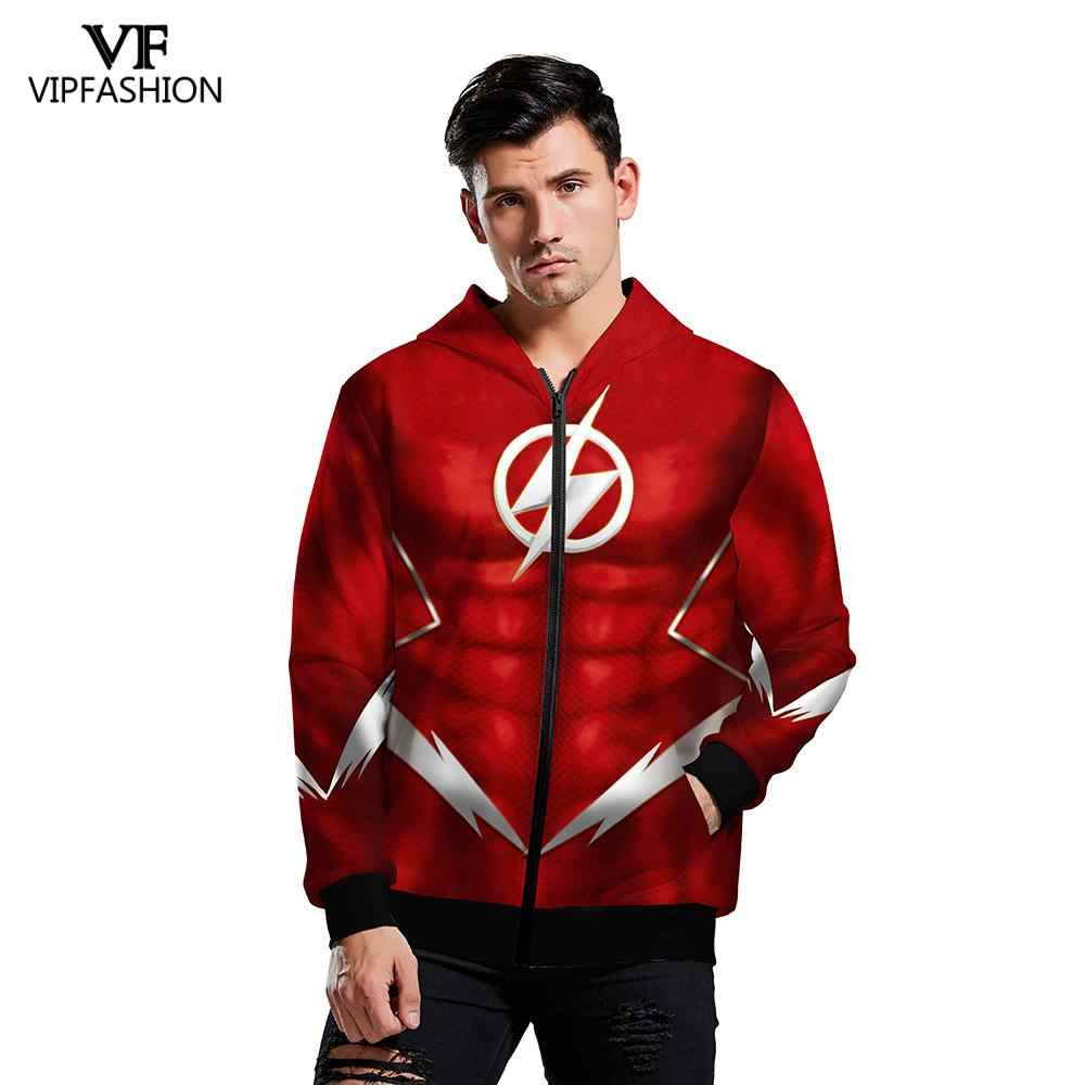 VIP FASHION Men 2019 Hot Winter Superman DC Anime Hoodies The Flash Cosplay Sweatshirt Hoody Quality Streetwear