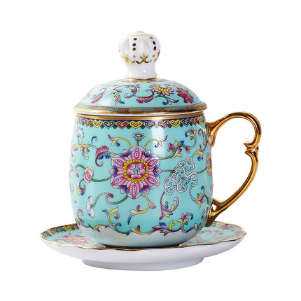 Jingdezhen Enamel Ceramic Mug 999 Sterling Silver Liner Silver Plated Mug With Lid Large Capacity Home Office Teacup Drinkware
