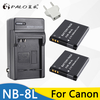 цена на 2pcs 1000mah NB-8L NB 8L NB8L Li-ion Digital Camera Battery + Charger For Canon PowerShot A3300 A3200 A3100 A3000 A2200 A1200 IS