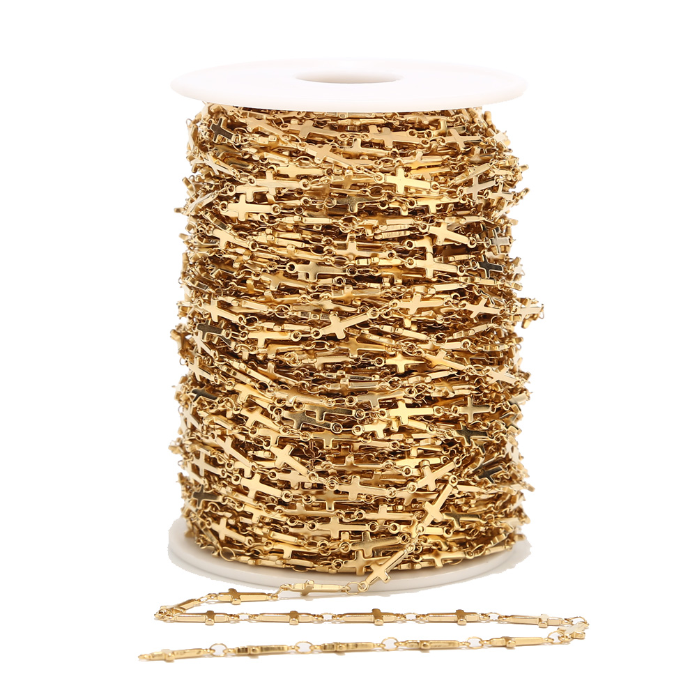 1 Meter 5mm Width Stainless Steel Gold Cross Link Chain For Men Women Necklace Bracelet Anklet Making