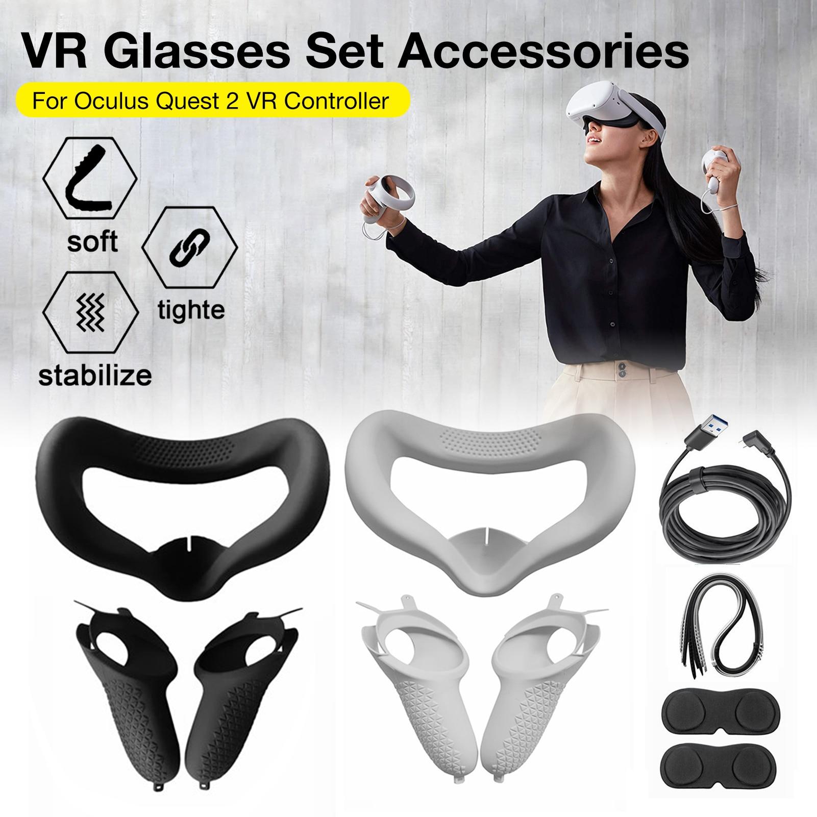 Комплект аксессуаров VR, защитный чехол для сенсорного контроллера Oculus Quest 2 VR с кабельными костяшками, ремешком и рукояткой для Oculus вопросы 2