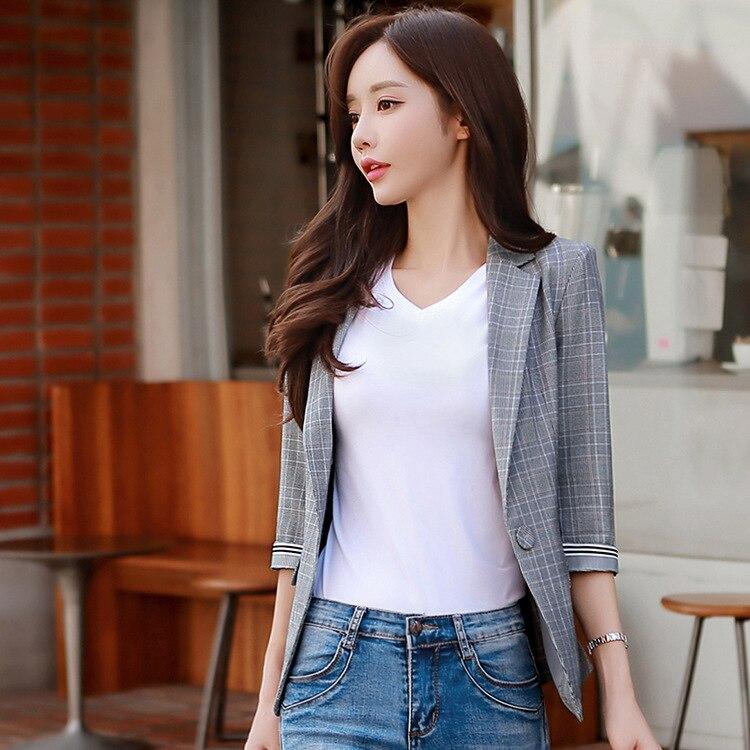women's office female elegant plaid jacket blazer women blazer tops and blouses blazers and jackets 3/4 sleeve casual coats