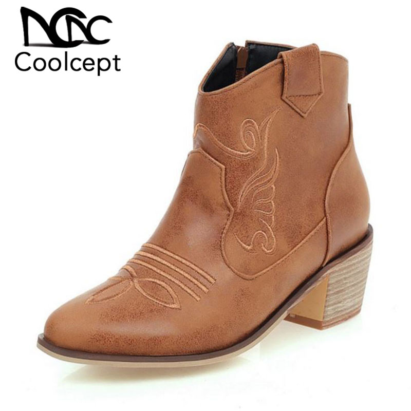 Coolcept Plus Size 33-46 Woman Ankle Boots Embroidery Solid Color Round Toe Thick Heels Shoes Autumn Winter Daily Women Footwear