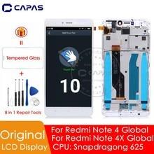 מקורי לxiaomi Redmi הערה 4 תצוגת הגלובלי גרסה + מסגרת 10 מגע מסך עבור Redmi הערה 4X LCD מסך snapdragon 625 LCD