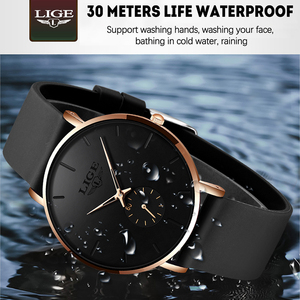 2019 LIGE New Fashion Simple Waterproof Quartz Wrist Watch Men Casual Silicone Strap Sport clock Mens Watches Top Brand Luxury