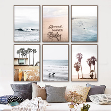 Sea Waves Beach Surfboard Palm Tree Wall Art Canvas Painting Nordic Posters And Prints Wall Pictures For Living Room Home Decor coconut palm tree beach wall art canvas painting nordic landscape posters and prints wall pictures for living room unframed