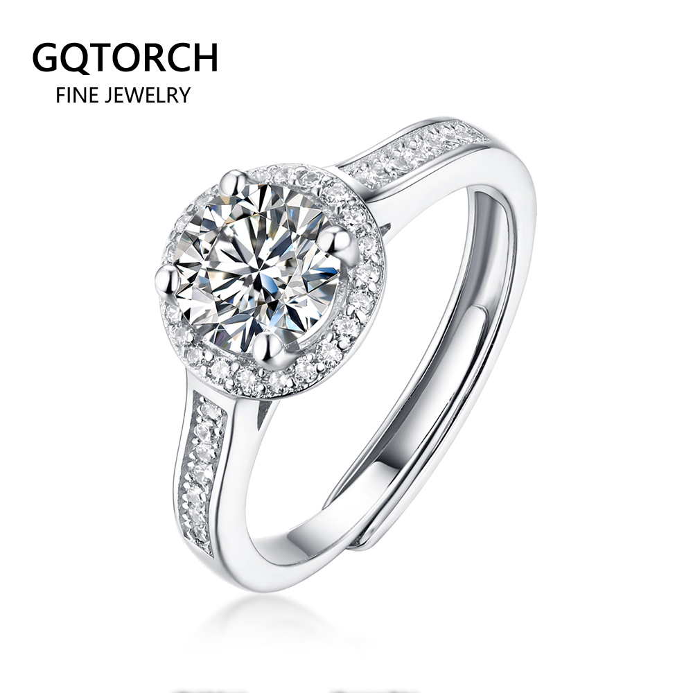 Engagement Moissanite Ring 1ct White Gold Plated Classic Style Diamond Jewelry 925 Sterling Silver Wedding Ring For Women