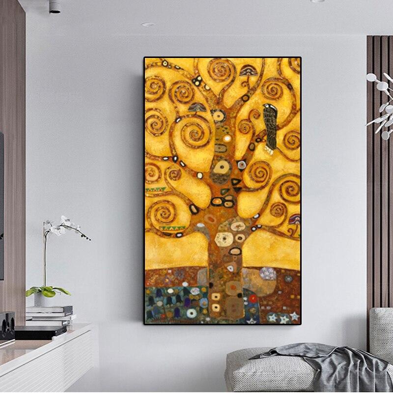 Абстрактный домашний Декор картина маслом Древа денег Современная Климт холст, набор картин кухонные настенные картины для гостиной куадр...