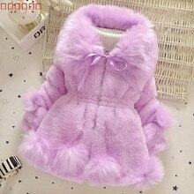 Новинка года, зимнее пальто с мехом для маленьких девочек длинная куртка теплый свитер детская одежда из толстого хлопка с большим меховым воротником