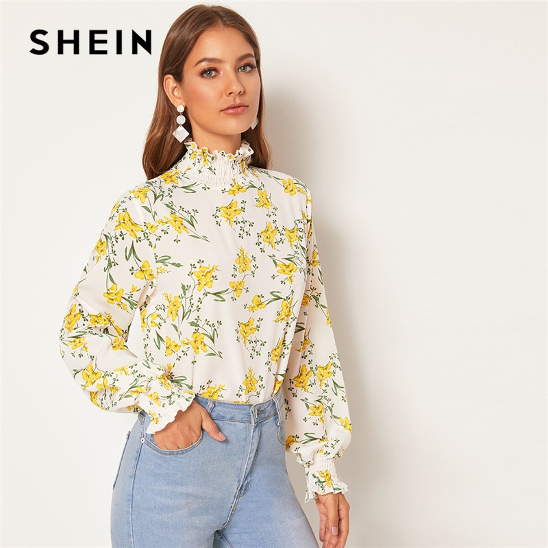 SHEIN White Floral Shirred Frill Neck Keyhole Back Blouse Top Women Spring Autumn Long  Bishop Sleeve Casual Abaya Blouses