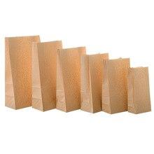 50/100 шт крафт-бумажный мешок упаковка подарочные пакеты печенье конфеты еда Печенье Хлеб видно закуски для выпечки на вынос сумки