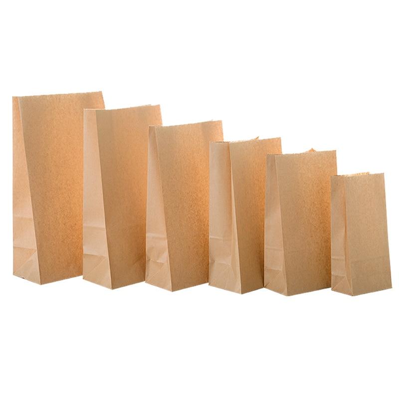 50/100pcs Kraft Paper Bag Gift Bags Packaging Biscuit Candy Food Cookie Bread Seen Snacks Baking Takeaway Bags