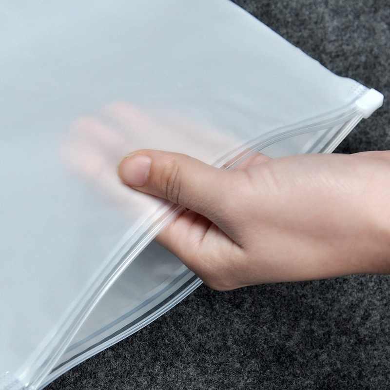2 piezas portátil de plástico translúcido Paquete de tela de viaje bolsa de almacenamiento impermeable bolsa Zip maleta organizador de tela