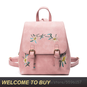 2020 New Fashion Women Leather Backpack Female School Bags for Girls Rucksack Small Floral Embroidery Flowers Bagpack PU Mochila noenname 2018 summer new miao handmade bucket bags ethnic flowers embroidery canvas backpack women bags female national