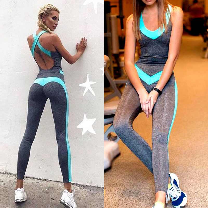 Sport Set Women Tight Backless Fitness Trousers Yoga Top Running Jumpsuit Training Pants Sportswear Ropa Deportiva Mujer image
