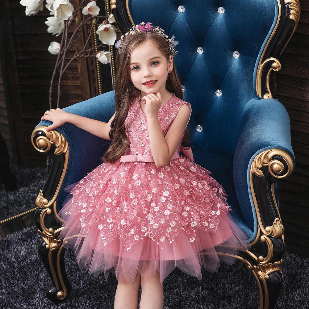 זה YiiYa פרח ילדה שמלות בנות V-צוואר אלגנטי ילדים מסיבת שמלות אפליקציות קשת קצר חתונה הקודש שמלת 190