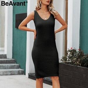 Image 5 - Женское трикотажное платье свитер BeAvant, однотонное облегающее платье пуловер для работы, комплект из 2 предметов, Осень зима