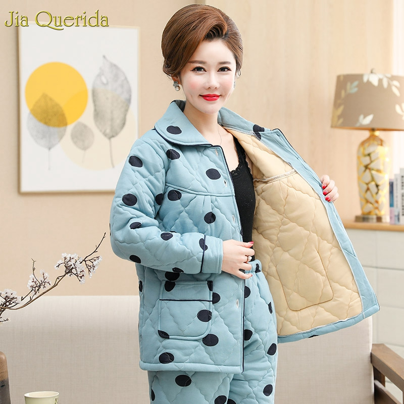 Womens Pajamas Winter Sky Blue Polka Dot Printing Pajamas Cotton Fabric Padded Warm Lingerie Home Clothing Plus Size Mother Pjs